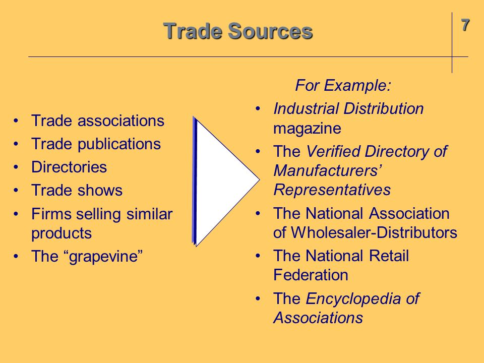 Trade Sources 7 For Example: Industrial Distribution magazine