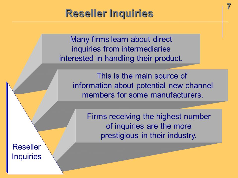 Reseller Inquiries 7 Many firms learn about direct