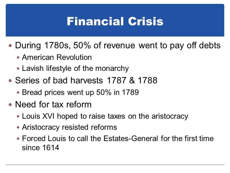 Financial Crisis During 1780s, 50% of revenue went to pay off debts