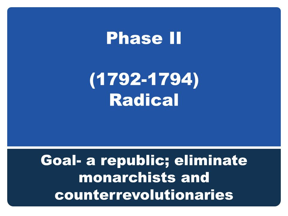Phase II ( ) Radical Goal- a republic; eliminate monarchists and counterrevolutionaries