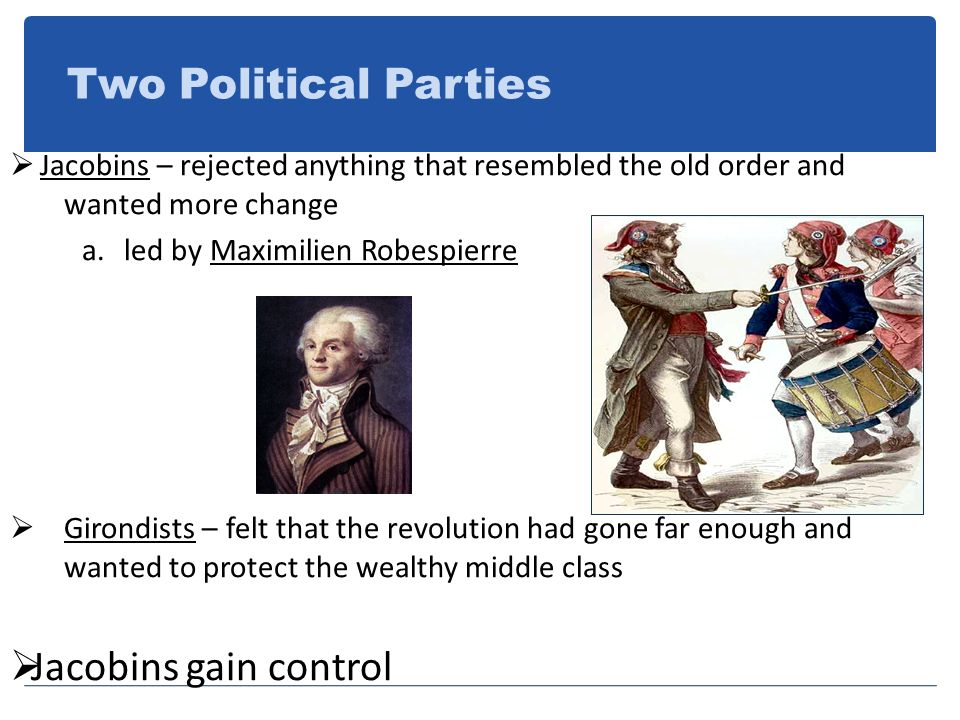 Two Political Parties Jacobins gain control