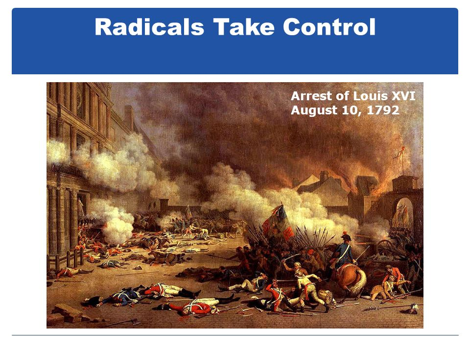 Radicals Take Control Arrest of Louis XVI August 10, 1792