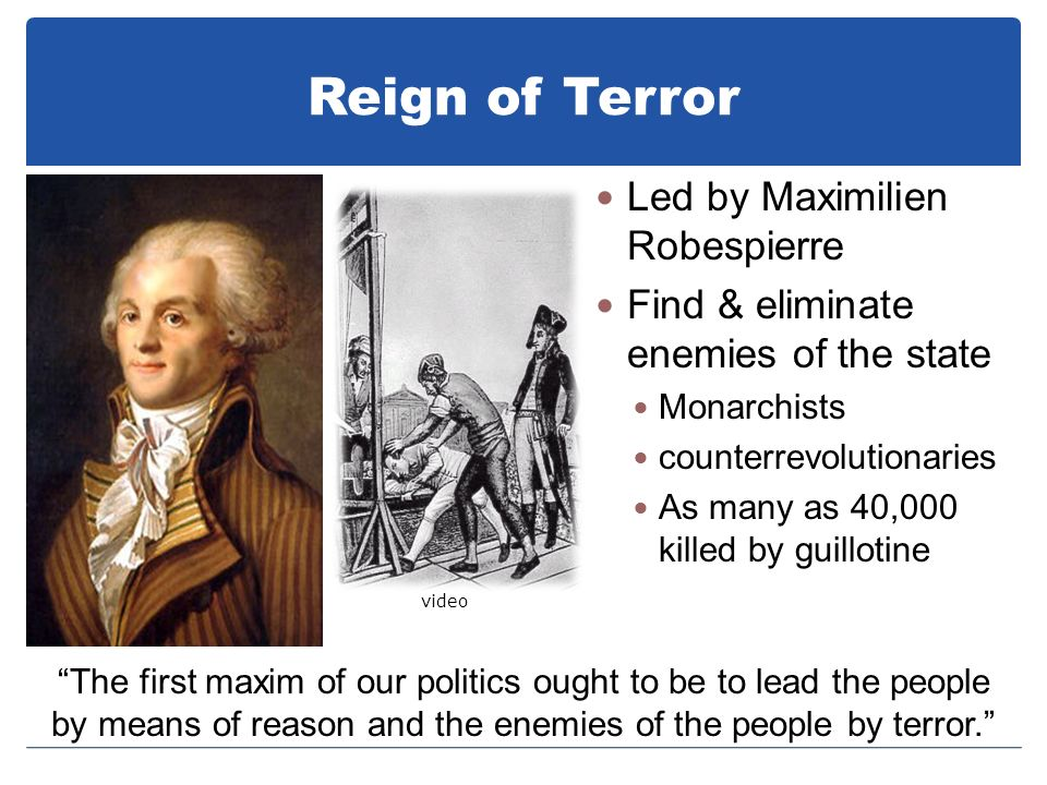 Reign of Terror Led by Maximilien Robespierre