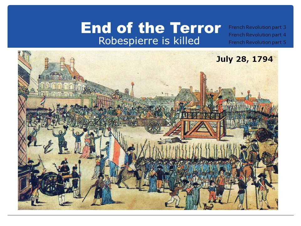 End of the Terror Robespierre is killed July 28, 1794