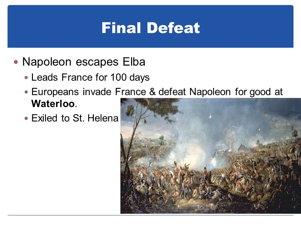 Final Defeat Napoleon escapes Elba Leads France for 100 days
