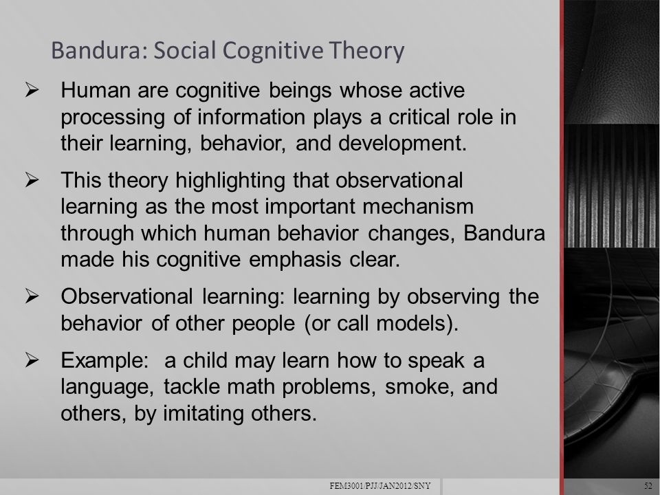 social learning theory and its development in the observational learning of children Published: tue, 24 apr 2018 child development and welfare  gemma smith an experiment was conducted to explore the social learning theory of albert bandura the experiment involved small children that were exposed to different forms of aggression and violence to study if the behaviour modelled by an adult would then be reflected upon the child.