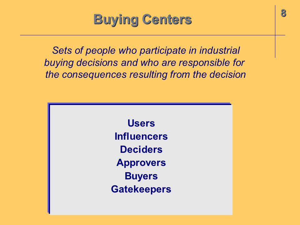 Buying Centers 8 Sets of people who participate in industrial