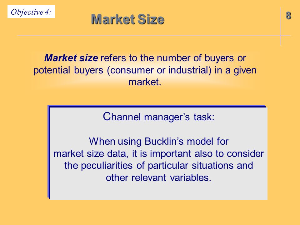 Market Size Channel manager's task: 8
