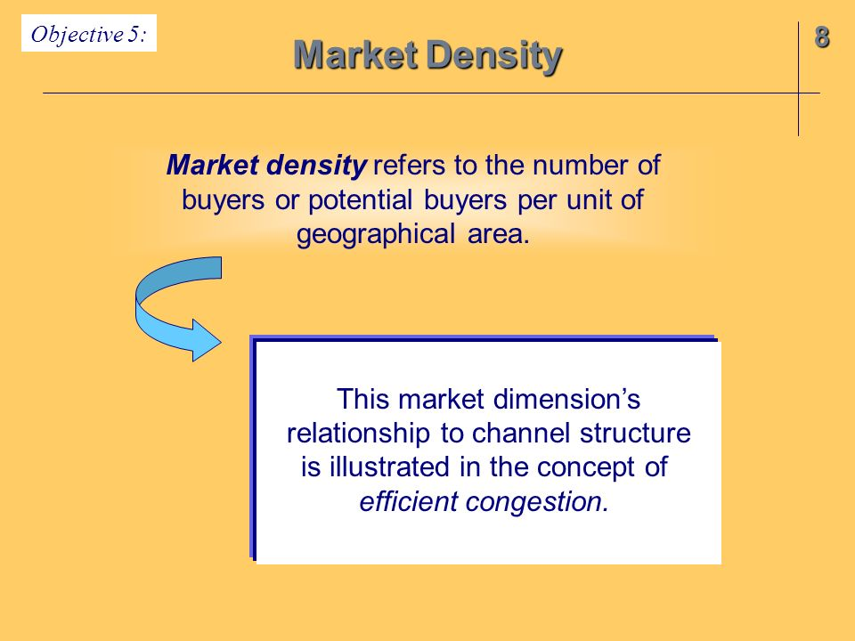 Market Density 8 Market density refers to the number of