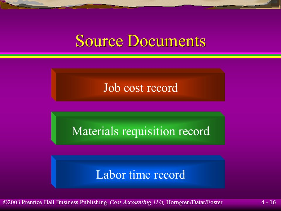 Materials requisition record