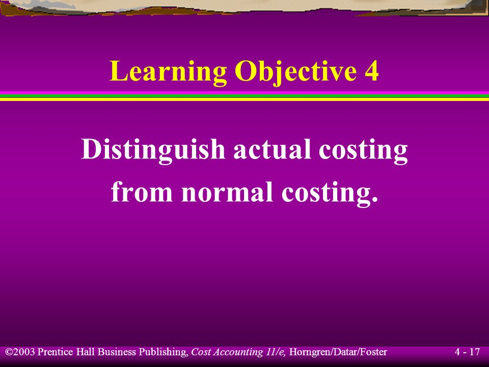 Distinguish actual costing