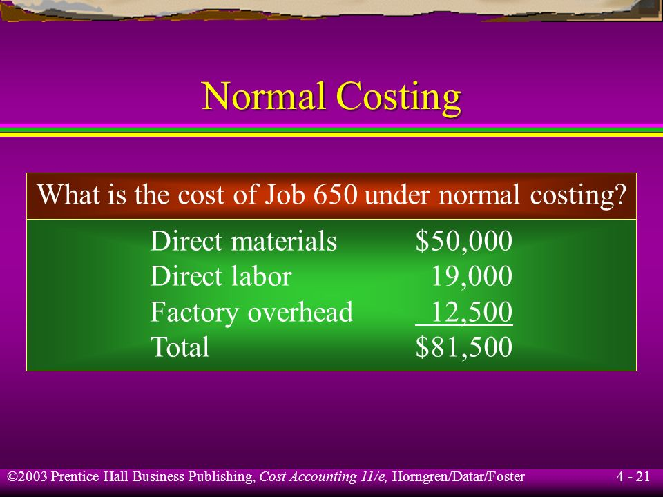 What is the cost of Job 650 under normal costing