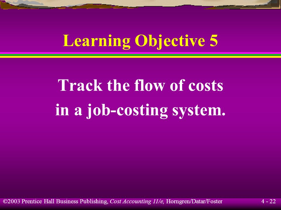 in a job-costing system.