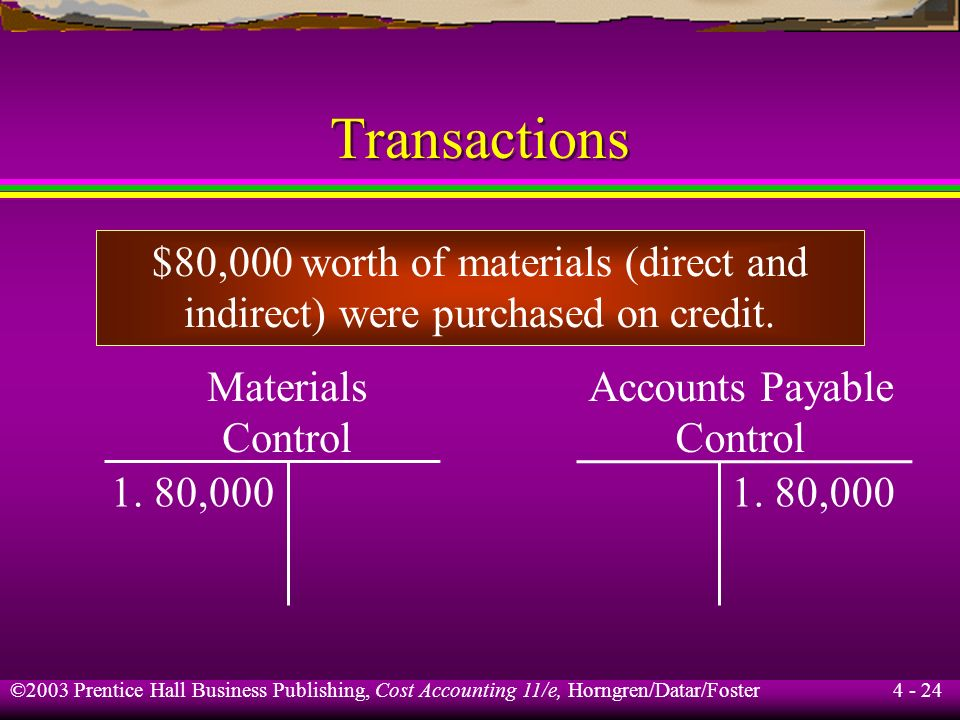 Transactions $80,000 worth of materials (direct and