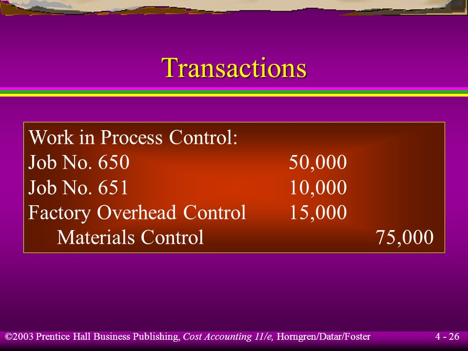 Transactions Work in Process Control: Job No. 650 50,000