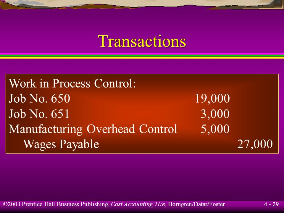 Transactions Work in Process Control: Job No ,000