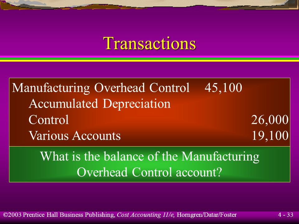 Transactions Manufacturing Overhead Control 45,100