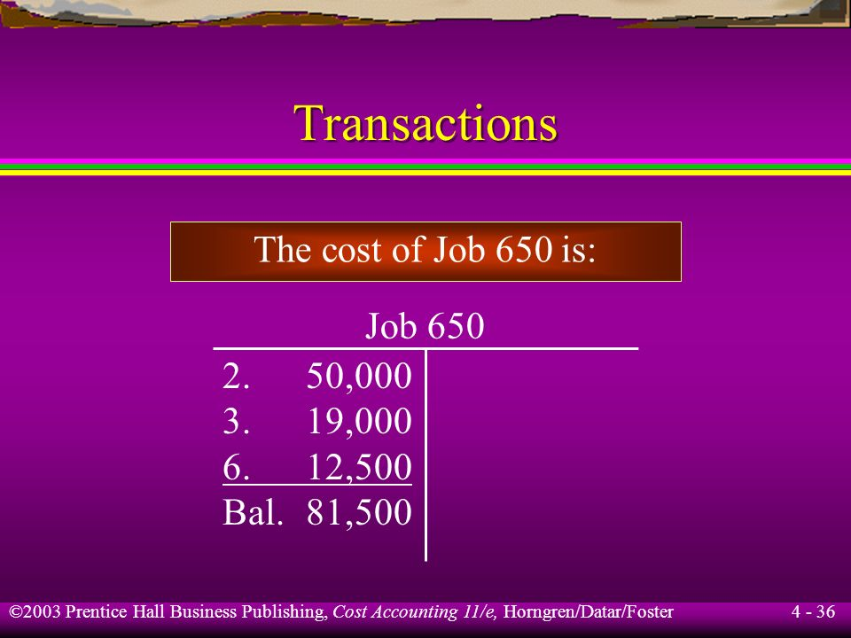 Transactions The cost of Job 650 is: Job 650 2. 50,000 3. 19,000