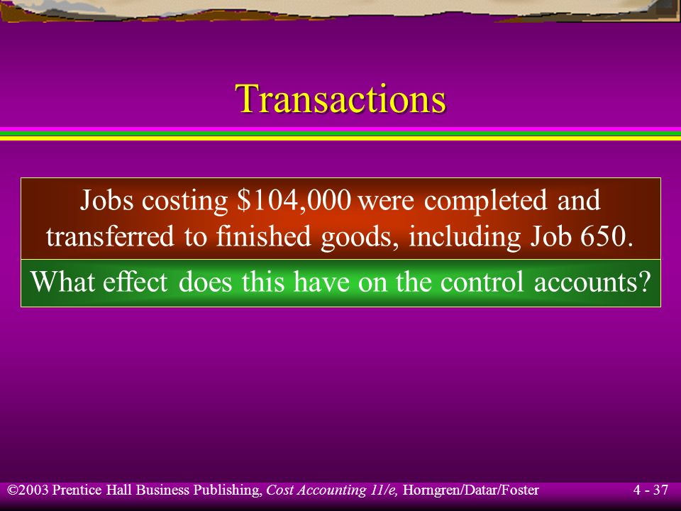 Transactions Jobs costing $104,000 were completed and