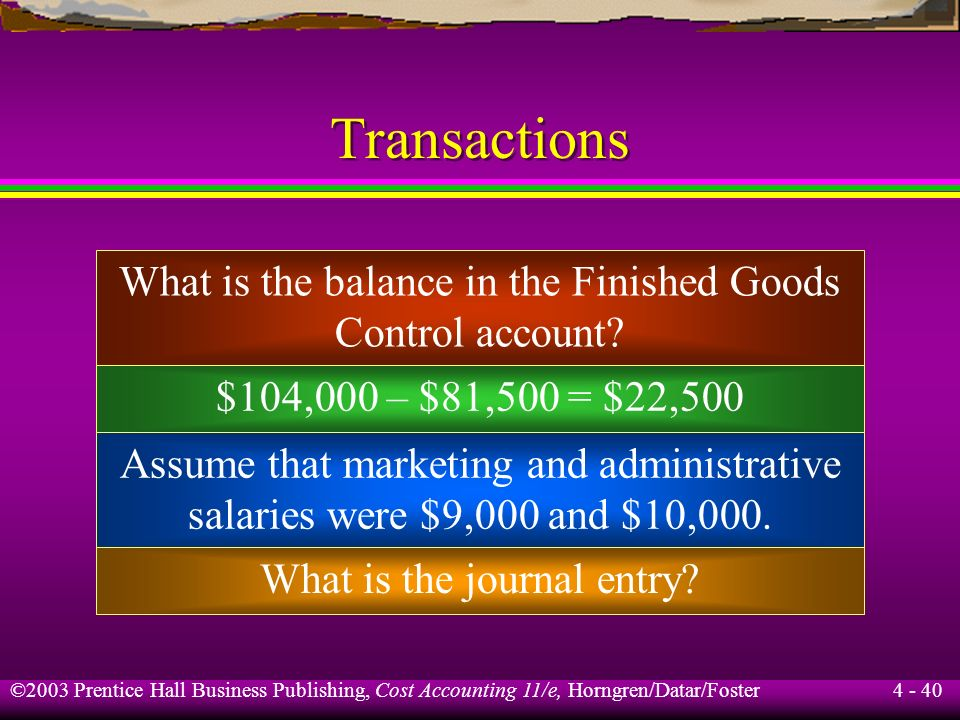 Transactions What is the balance in the Finished Goods