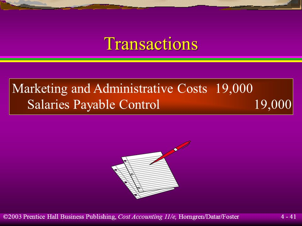 Transactions Marketing and Administrative Costs 19,000