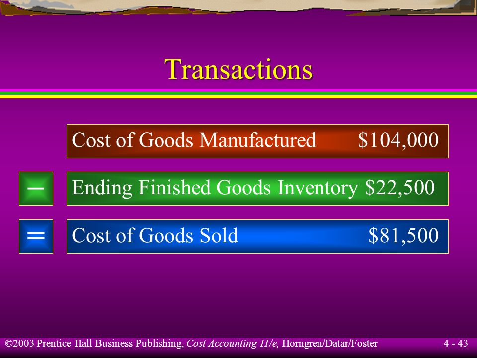 – = Transactions Cost of Goods Manufactured $104,000