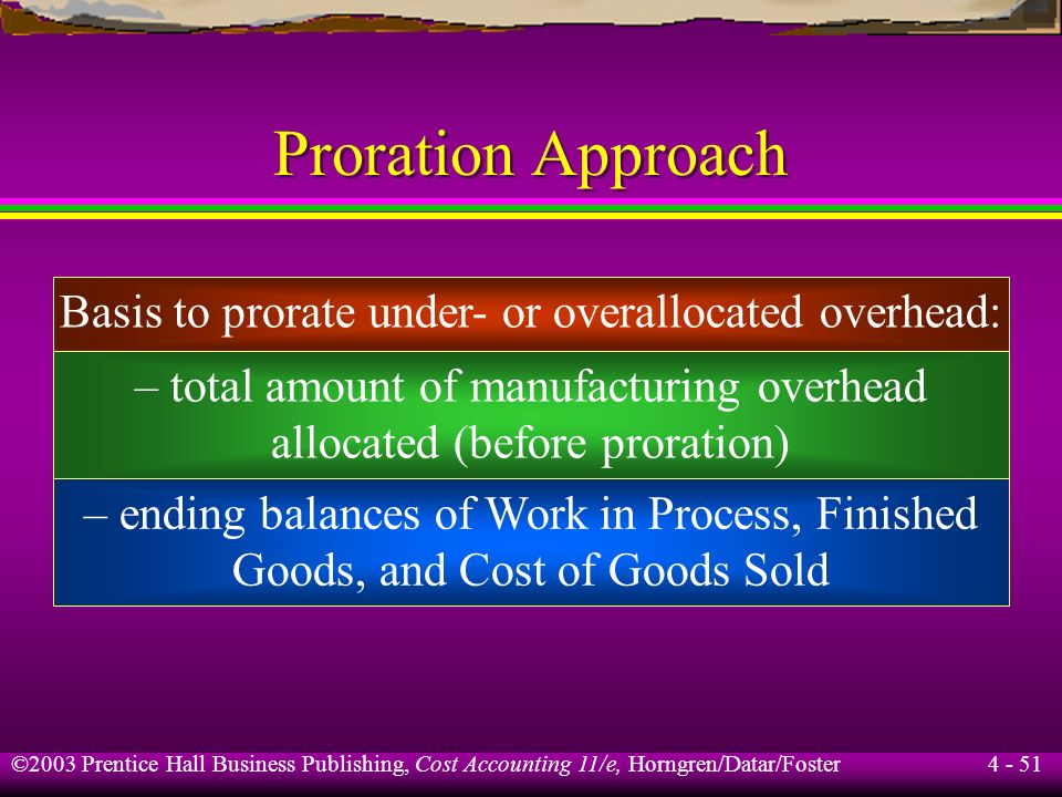 Proration Approach Basis to prorate under- or overallocated overhead: