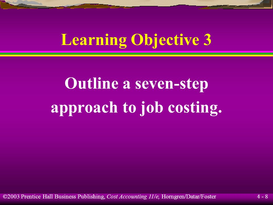 approach to job costing.