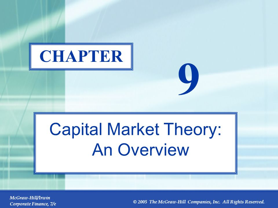 Capital Market Theory: An Overview