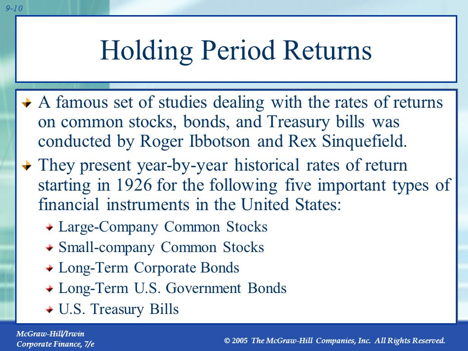 Holding Period Returns