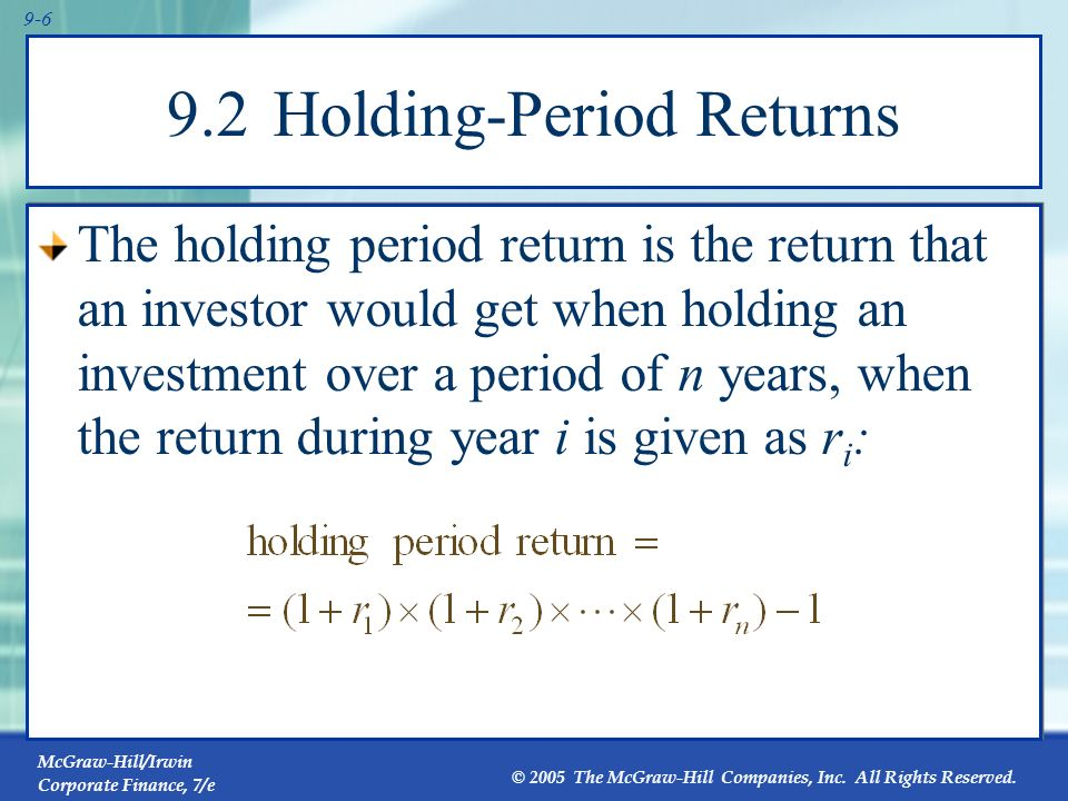 9.2 Holding-Period Returns