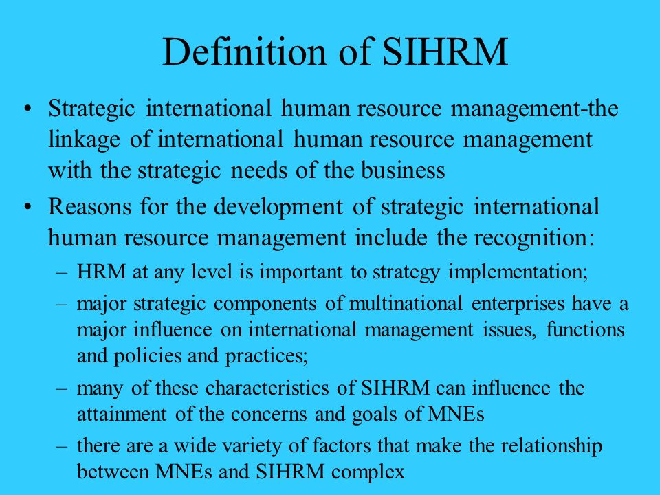 Definition of SIHRM