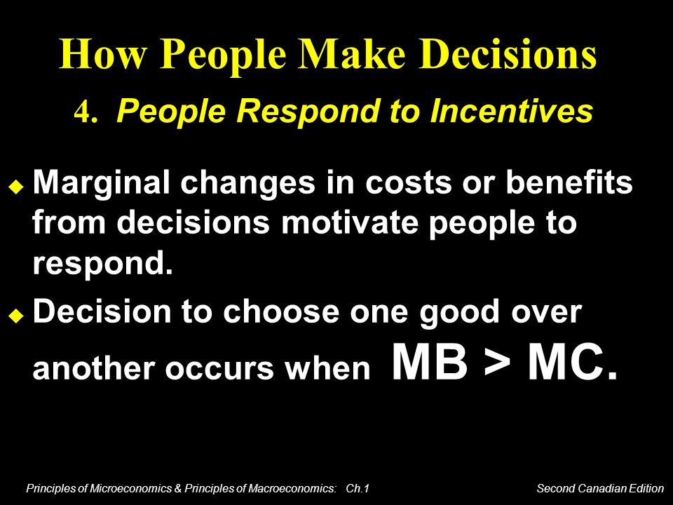 How People Make Decisions 4. People Respond to Incentives
