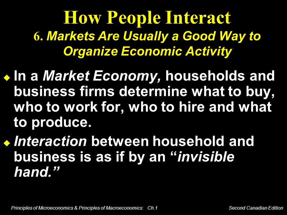 How People Interact 6. Markets Are Usually a Good Way to Organize Economic Activity