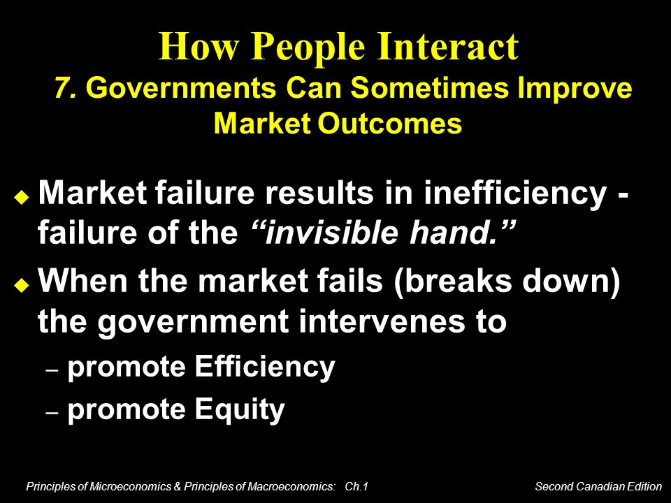 How People Interact 7. Governments Can Sometimes Improve Market Outcomes