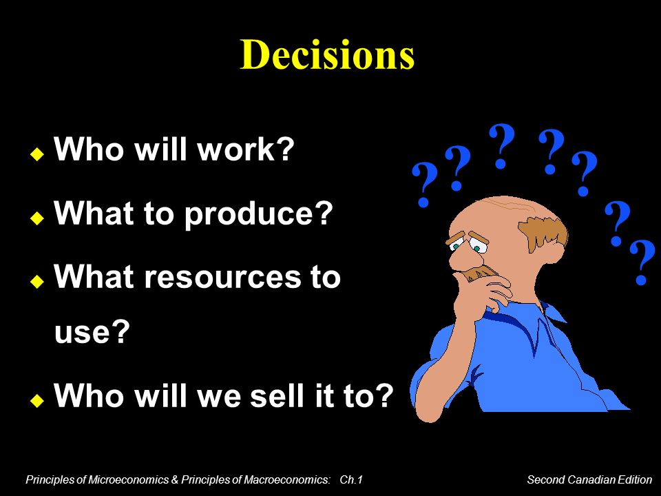 Decisions Who will work What to produce What resources to use