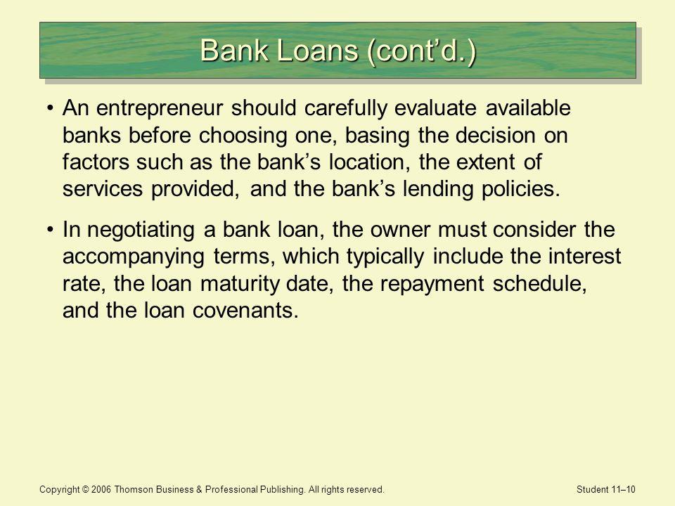 Bank Loans (cont'd.)
