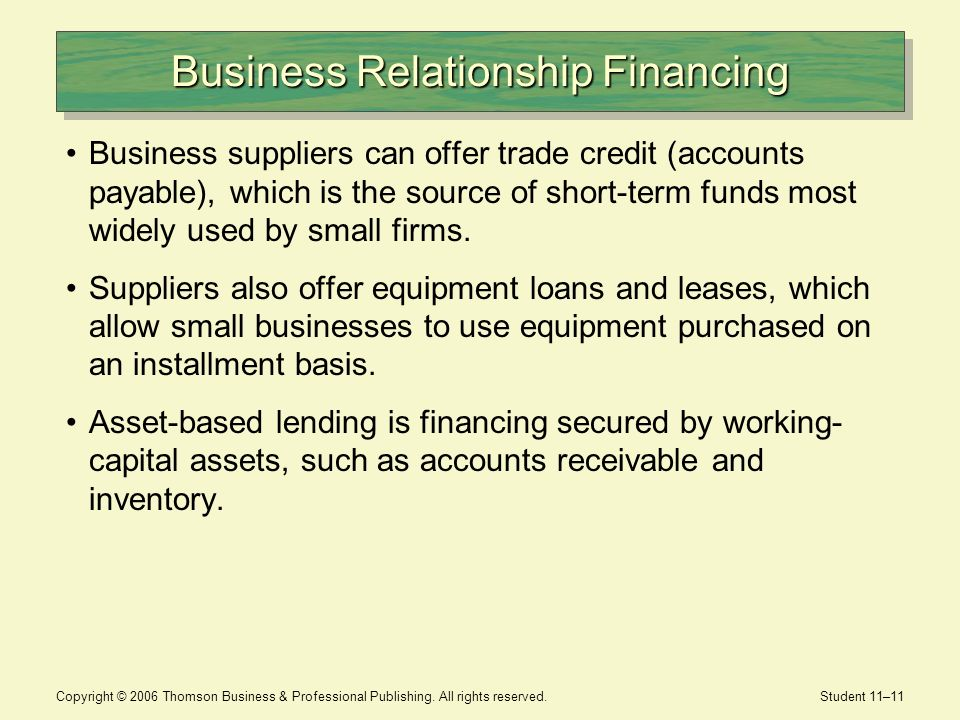Business Relationship Financing