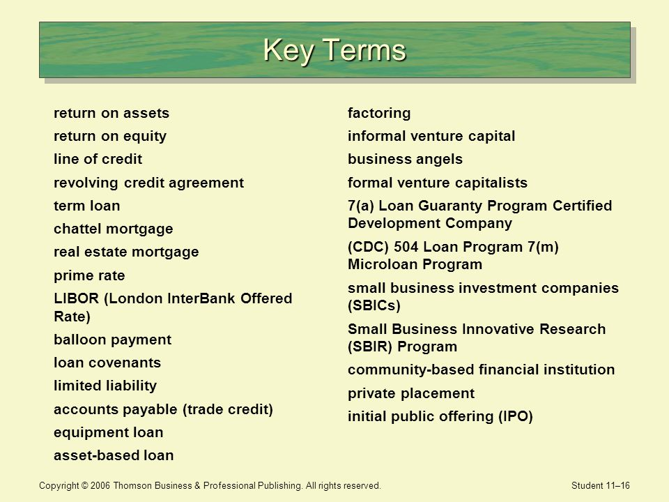Key Terms return on assets return on equity line of credit