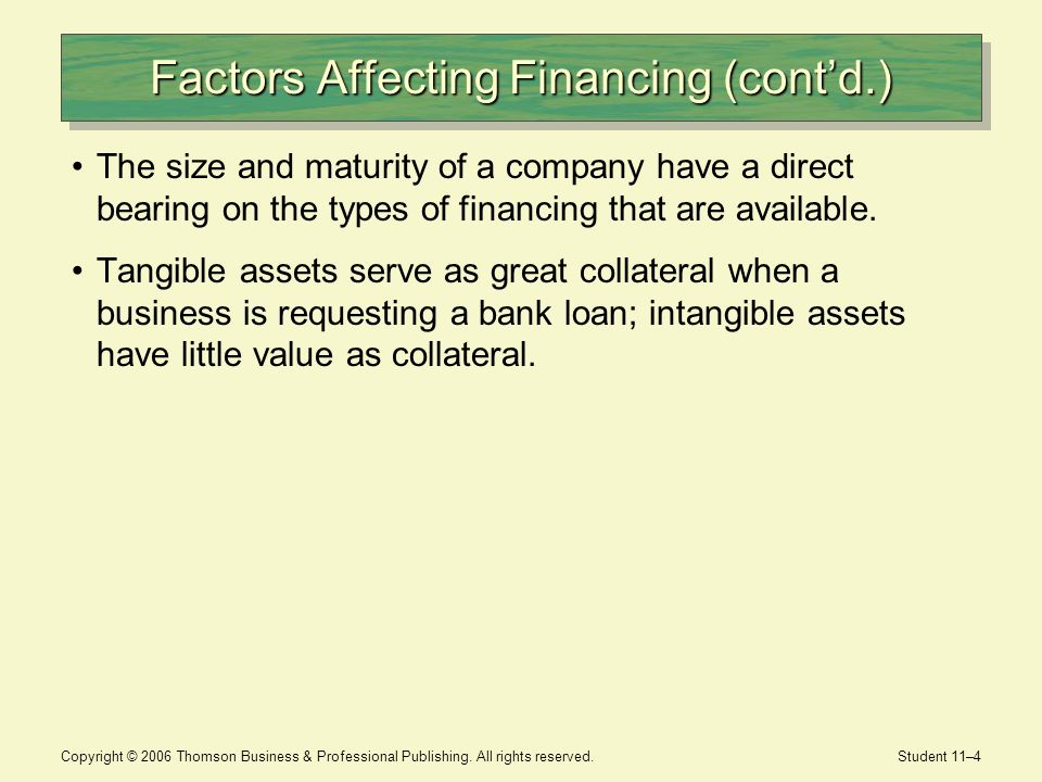 Factors Affecting Financing (cont'd.)
