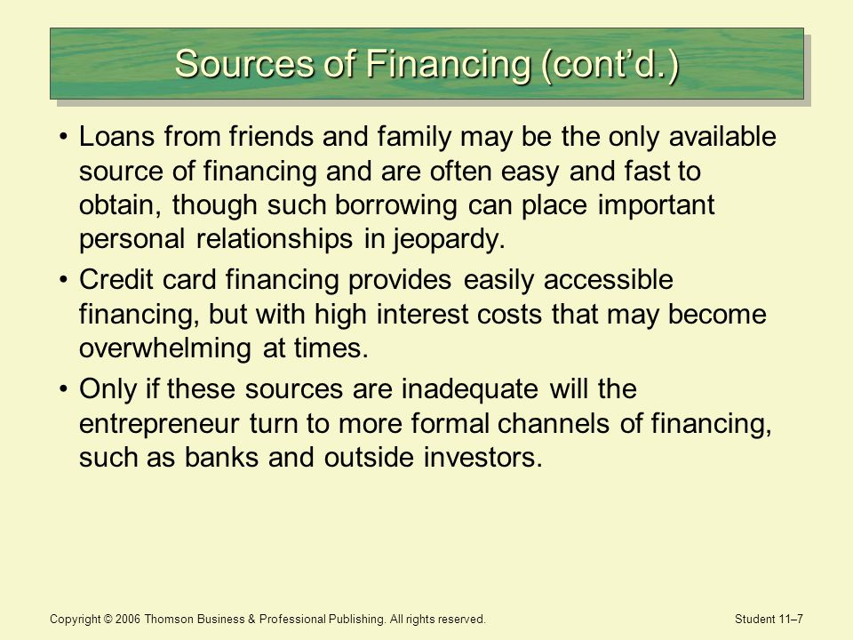 Sources of Financing (cont'd.)