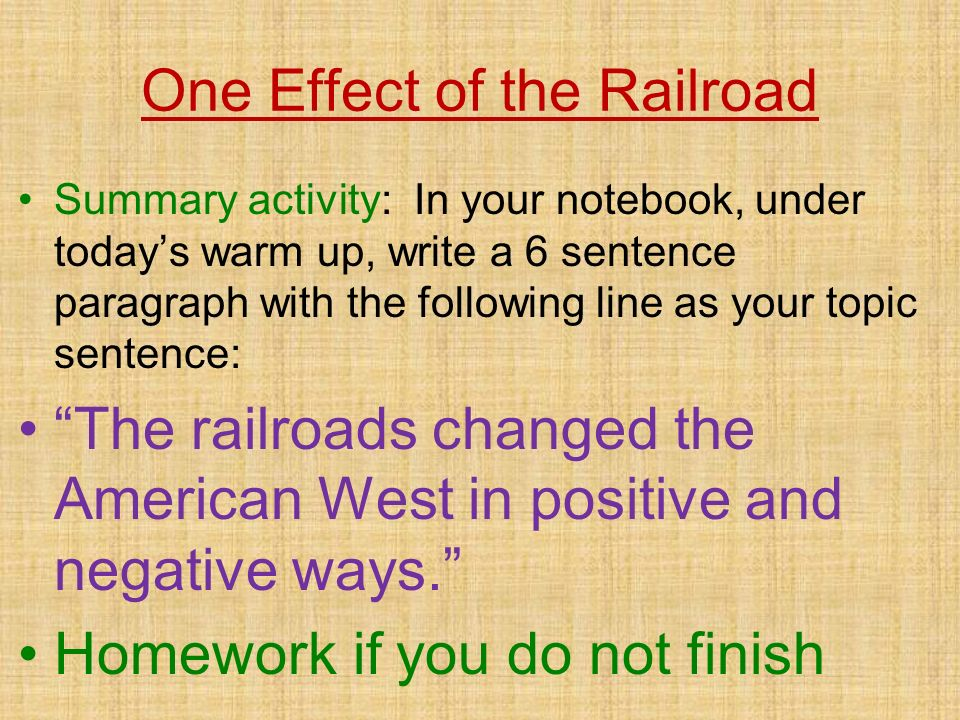 One Effect of the Railroad
