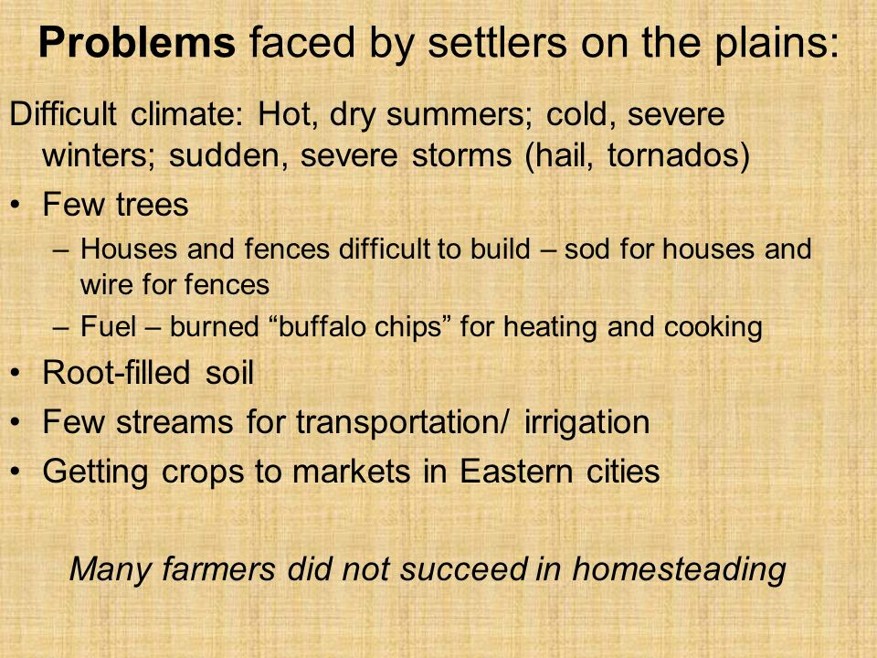 Problems faced by settlers on the plains:
