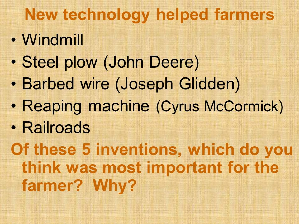 New technology helped farmers