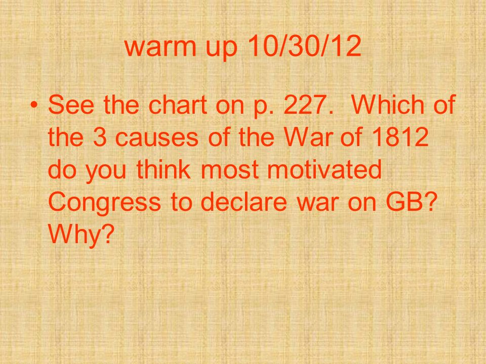warm up 10/30/12 See the chart on p. 227.