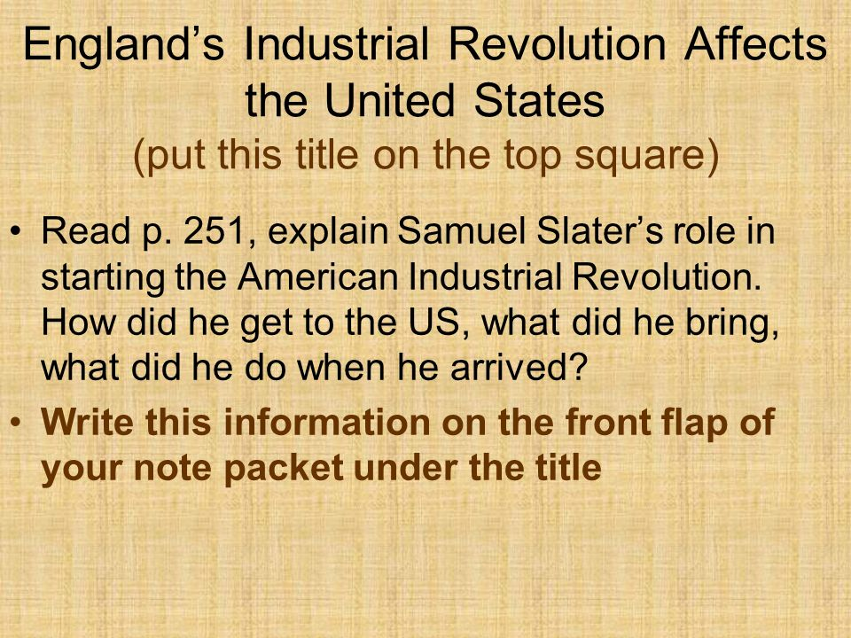 England's Industrial Revolution Affects the United States (put this title on the top square)