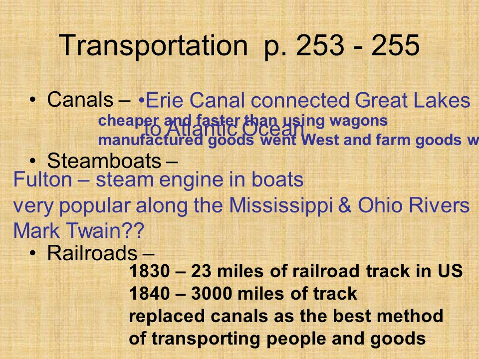 Transportation p. 253 - 255 Canals – Erie Canal connected Great Lakes