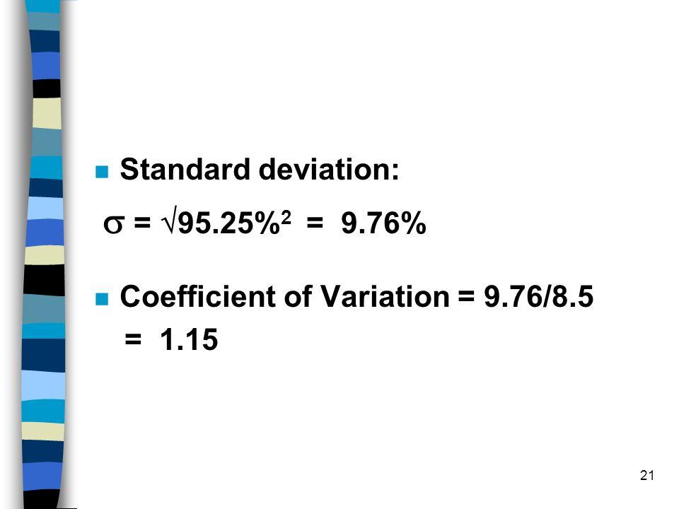 Standard deviation:  = 95.25%2 = 9.76% Coefficient of Variation = 9.76/8.5 = 1.15