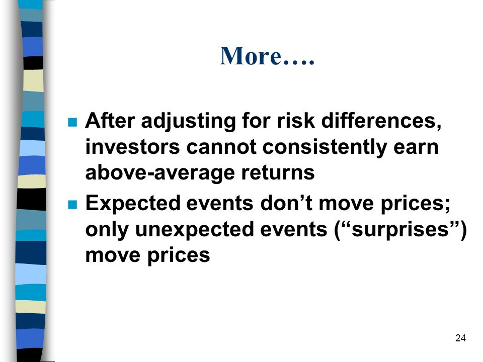 More…. After adjusting for risk differences, investors cannot consistently earn above-average returns.