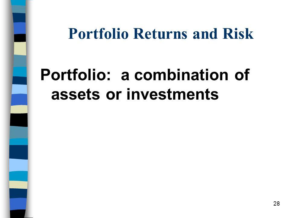 Portfolio Returns and Risk